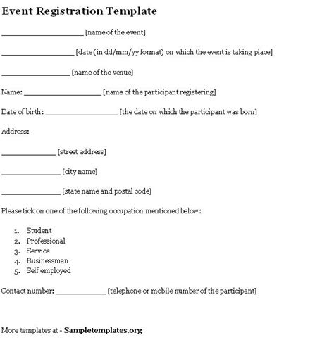event template for registration exle of event