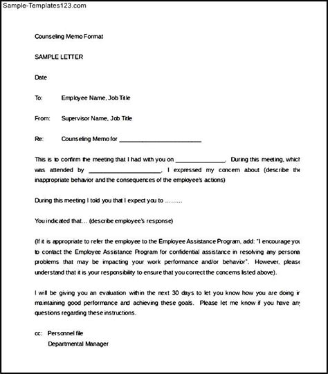 counseling memo template employee counseling form 15 employee handbook sle