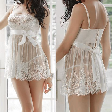 Babydoll Robe L634 L Xl plus womens lace bridal babydoll sleepwear robe m l xl 2xl ebay