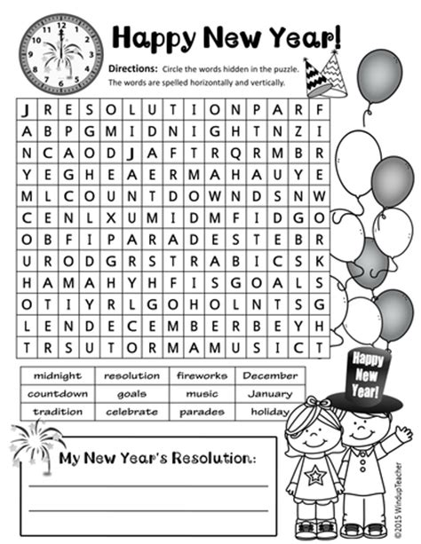 new year activities tes happy new year word search 2 levels by windupteacher
