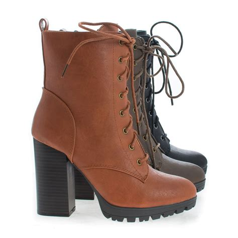 lace up heel boots kimber06 lace up lug sole platform block high heel combat