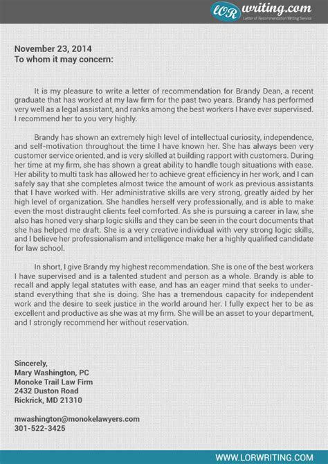 Reference Letter From Employer Lawyer Professional School Letter Of Recommendation Sle