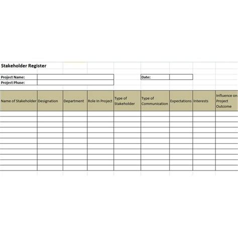 exle of a stakeholder register and a stakeholder
