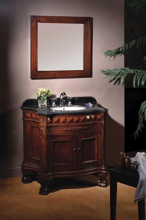 Bathroom Granite Vanity The Hermes 36 Quot Vanity Features Hardwood Furniture With A Cherry Finish Black Granite