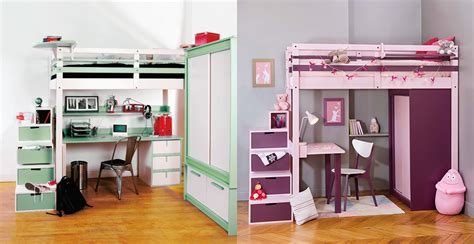 lit mezzanine avec armoire intégrée dressing rangements espace loggia
