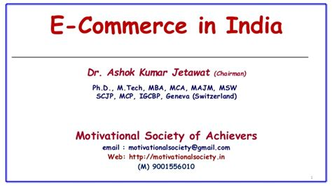 Mba In E Business In India by E Commerce In India