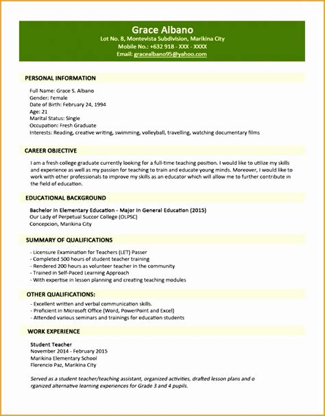sle resume for fresh graduate elementary teachers in the philippines jobstreet resume 28 images sle resume format for fresh