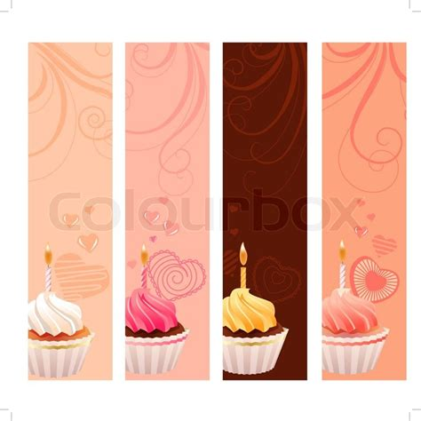 design banner sweet 17 four banners with sweet small cakes and flourishes stock