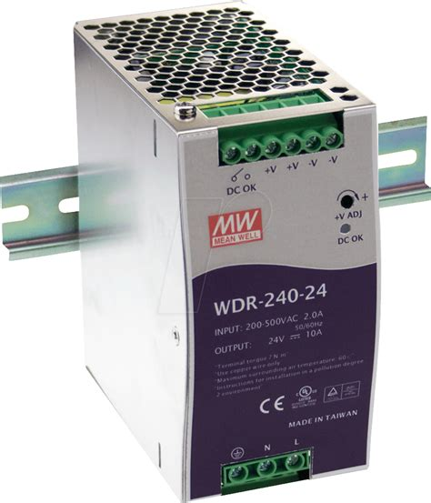 Switching Power Supply 24 V 10 A mw wdr 240 24 switching power supply din rail 240 194 w
