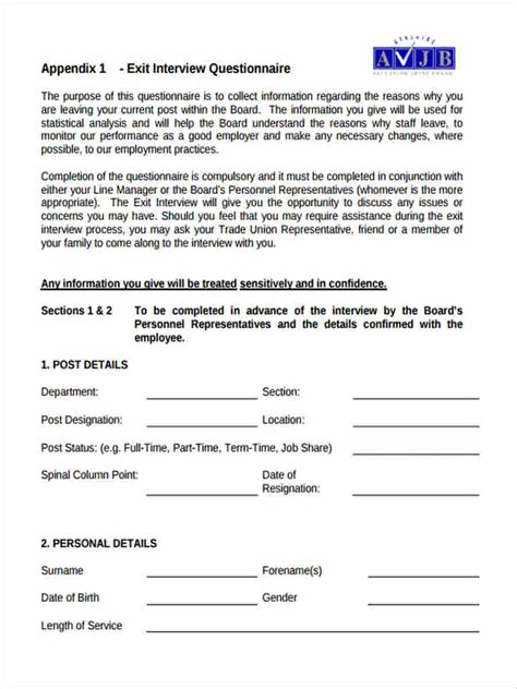 employee exit questions template 6 exit questionnaire form sles free