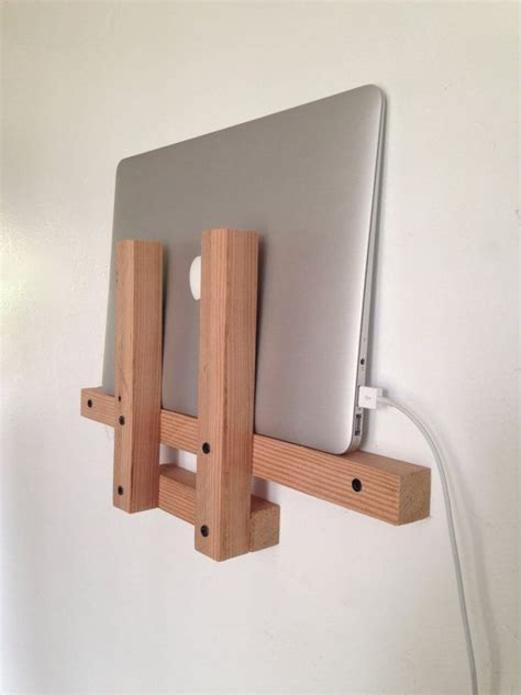 laptop holder laptop wall shelf reclaimed wood
