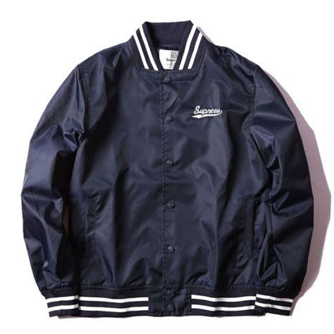 Jaket Sweater Supreme Navy 1 supreme label baseball jacket navy supreme label baseball jacket navy 673918