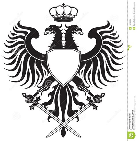 double headed eagle with crown and swords stock vector