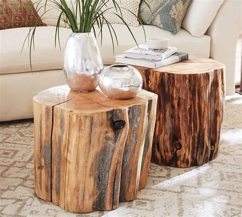tables made from tree stumps reclaimed wood stump table pottery barn