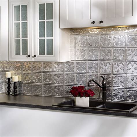 backsplash panels kitchen fasade traditional style 10 brushed aluminum 18 in x 24