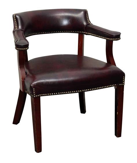 leather studded armchair set of six studded burgundy leather chairs olde good things
