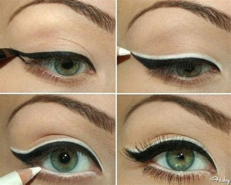 women in 60s with eyelash extensions the black and white cat eye 25 white eyeliner