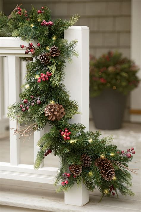 outside garland faux pine pre lit outdoor garland gardeners