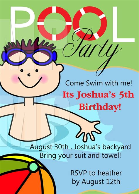 pool party birthday invitations printable