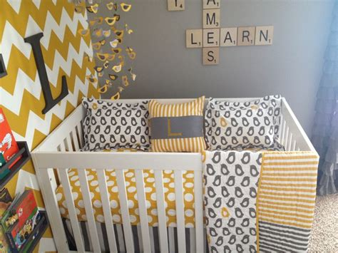 Gray And Yellow Chevron Crib Bedding My Nursery Bedding Yellow Grey Chevron Polka Dots Not A Peep Land Of Nod