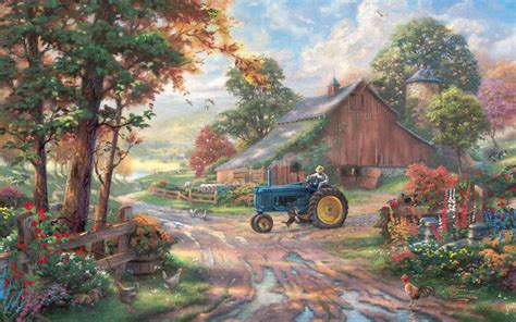 country farm paintings with barn free kinkade wallpapers for desktop wallpaper cave