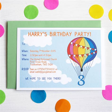 rainbow balloon personalised birthday party invitations by
