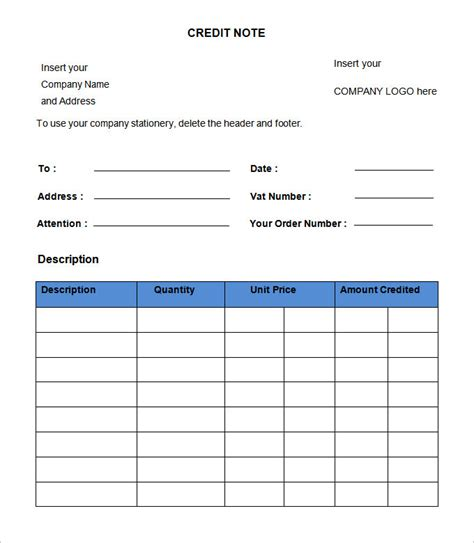 template credit note credit note template 19 free word pdf documents
