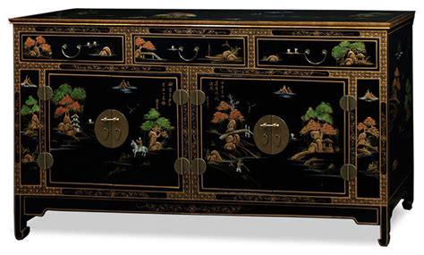 Chinoiserie Scenery Black Lacquer Sideboard Asian Asian Sideboards And Buffets