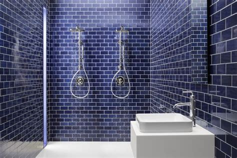 blue subway tile bathroom cobalt blue subway tile shower pinterest blue subway