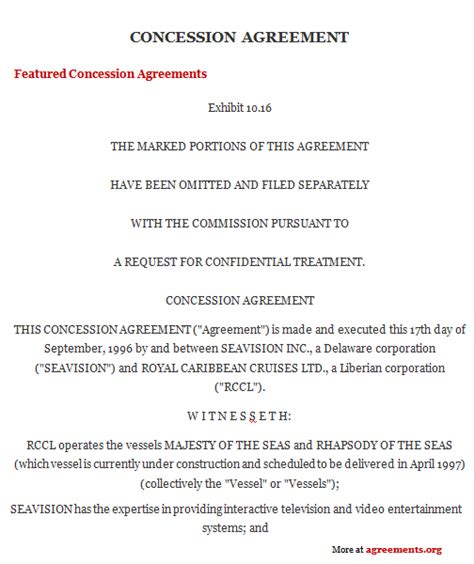 Rent Concession Letter Subordination Agreement Template Concession Agreement Concession Agreement Sle Concession