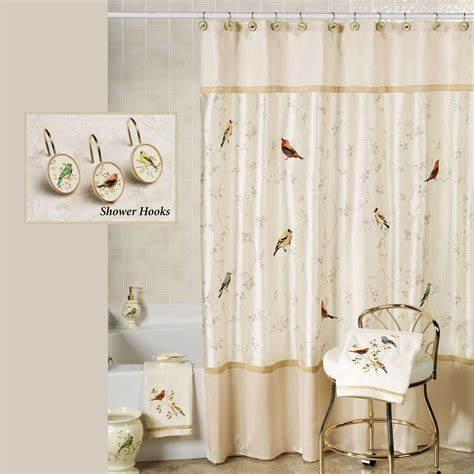 Gilded Bird Embroidered Shower Curtain And Hooks