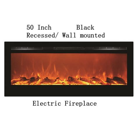 Black Wall Mounted Electric Fireplace by 50 Quot Black Built In Recessed Wall Mounted Heater Electric