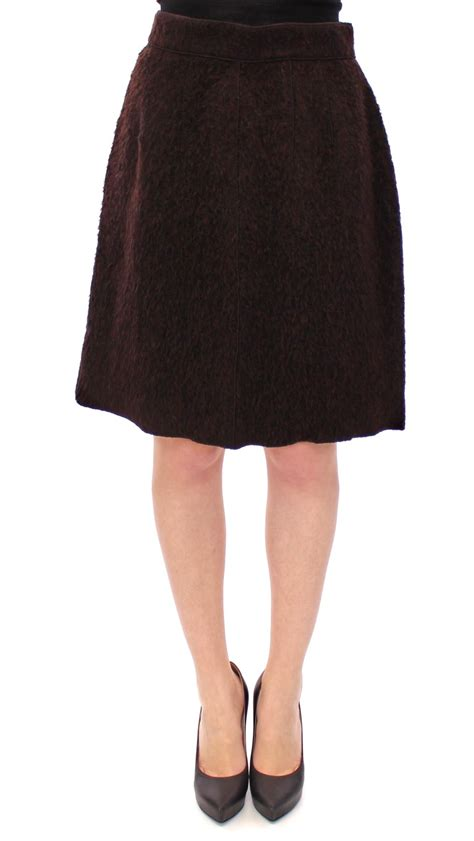 brown fur above knee zipper skirt designer warehouse