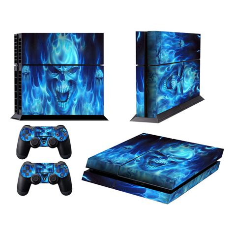 stiker console pvc skull skin for ps4 blue