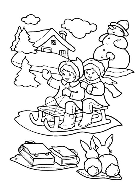 outdoor winter clothing pages coloring pages