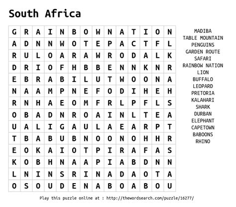 South Africa Finder Word Search On South Africa