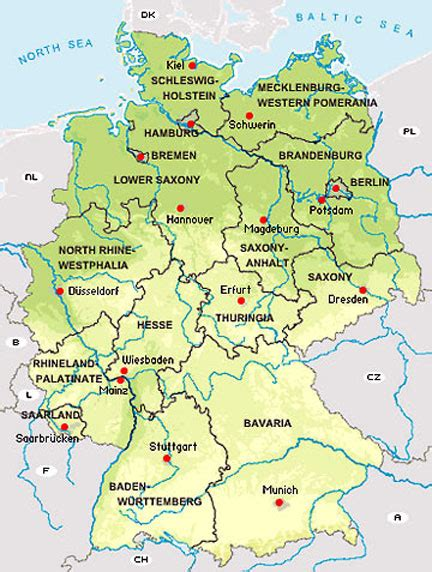 map of states of germany states of the federal republic of germany