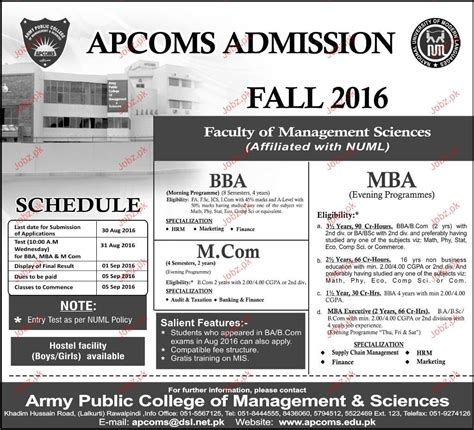 Government For Mba Marketing by Army College Of Management Sciences Admisison In