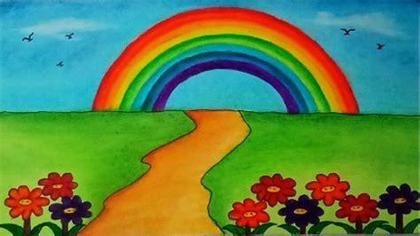 draw garden scenery  rainbow beautiful