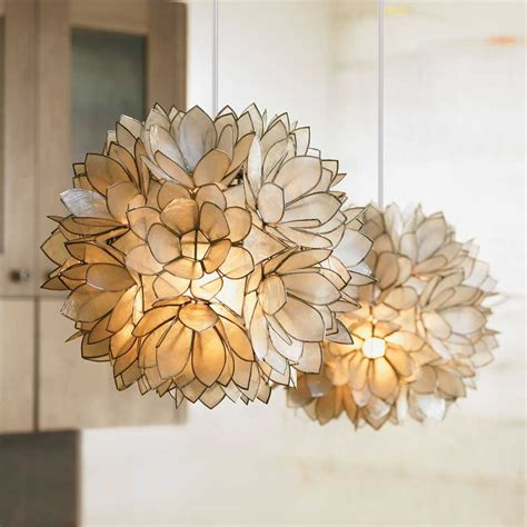 capiz lotus flower chandelier decorating ideas awesome image of decorative hanging