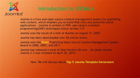 joomla theme generator online introduction to joomla top 5 joomla template generator