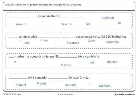lectura y redaccin ejercicios y teora sobre lengua espaola ficha de lenguaje para completar las frases con las