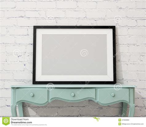 interior design picture frames mock up blank black picture frame on the white desk and