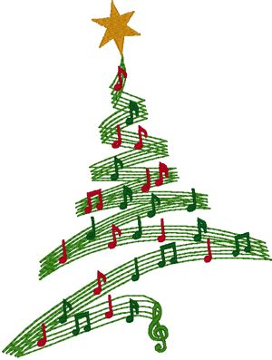 musical tree embroidery design