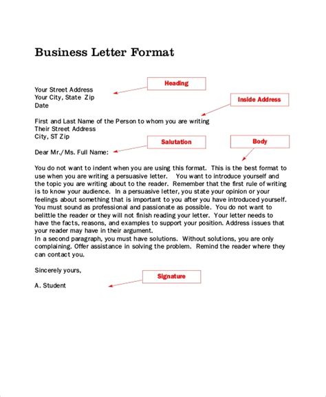 sample formal letter layout templates ms word