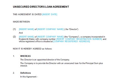 unsecured loan agreement template unsecured directors loan agreement template bizorb