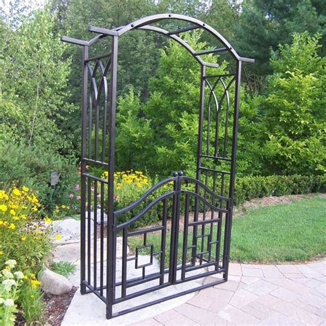 Garden Arbor Lowes by Shop Oakland Living 46 In W X 78 In H Black Garden Arbor