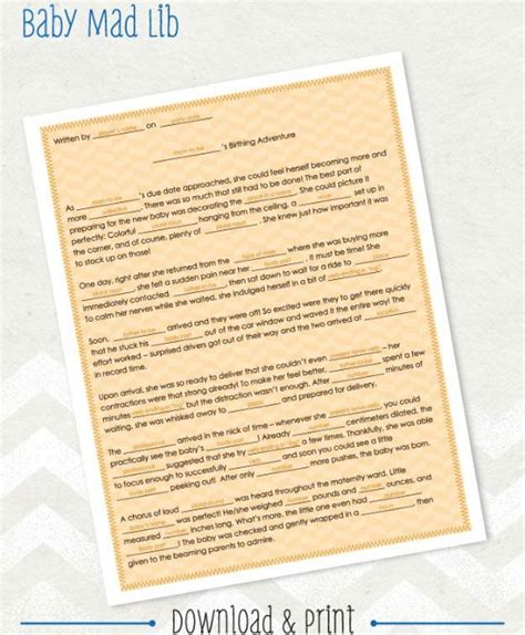 Baby Shower Mad Libs by 15 Entertaining Baby Shower Pretty My