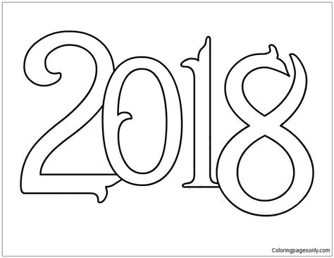 new year 2018 color vector new year 2018 coloring page free coloring pages