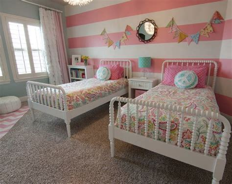 girls bedroom accent wall little girls room spindle beds accent wall striped